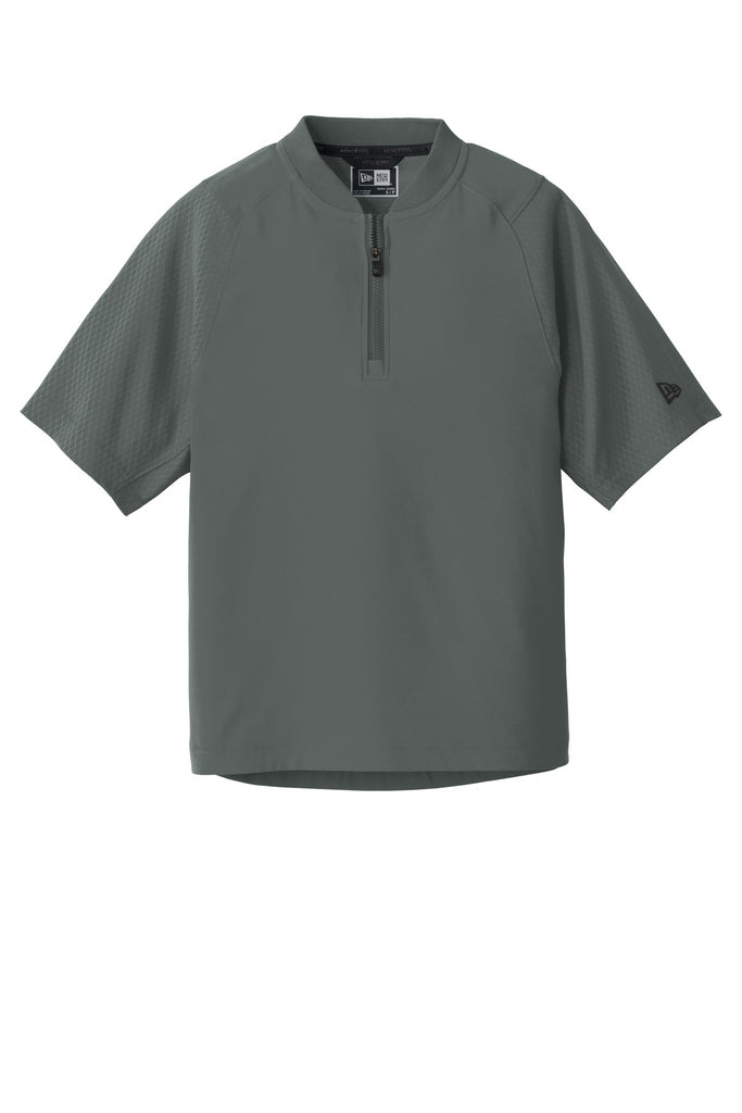 New Era YNEA600 Youth Cage Short Sleeve 1/4-Zip Jacket - Graphite - HIT A Double