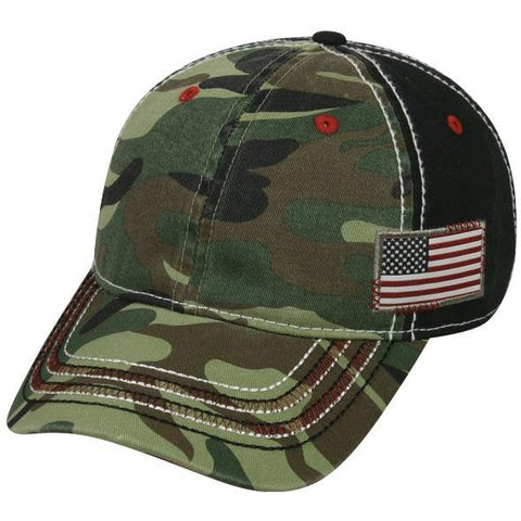 OC Sports AGC-100 Adjustable Cap - Generic Camo Black American Flag
