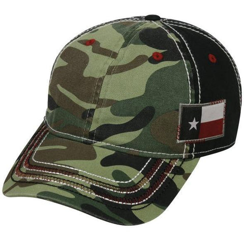 OC Sports AGC-100 Adjustable Cap - Generic Camo Black Texas Flag