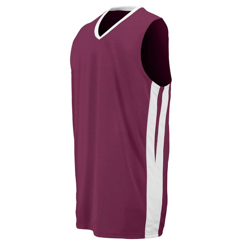 Augusta 1040 Triple-Double Game Jersey - Maroon White