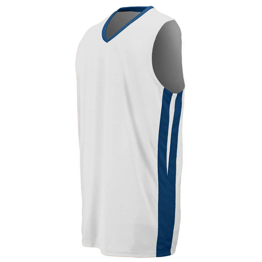 Augusta 1040 Triple-Double Game Jersey - White Navy