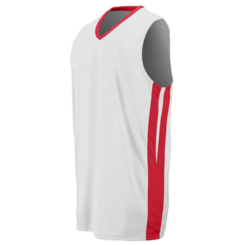 Augusta 1040 Triple-Double Game Jersey - White Red