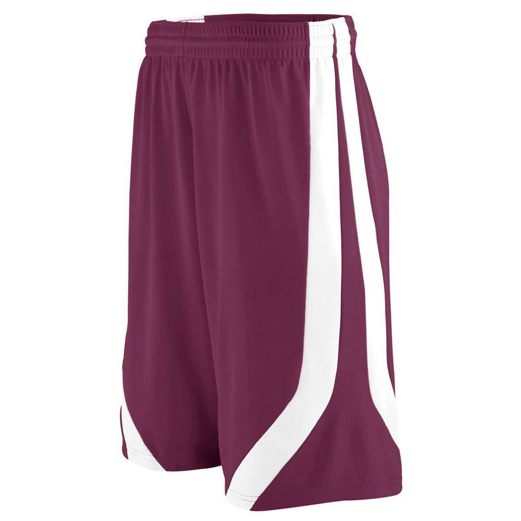 Augusta 1046 Triple-Double Game Short - Youth - Maroon White