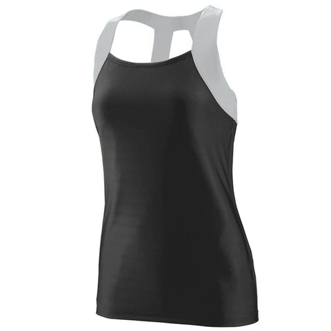 Augusta 1208 Ladies Jazzy Open Back Tank - Black Light Gray - HIT A Double