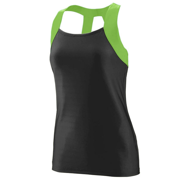 Augusta 1208 Ladies Jazzy Open Back Tank - Black Lime - HIT A Double
