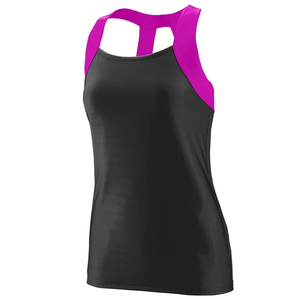 Augusta 1208 Ladies Jazzy Open Back Tank - Black Pink - HIT A Double