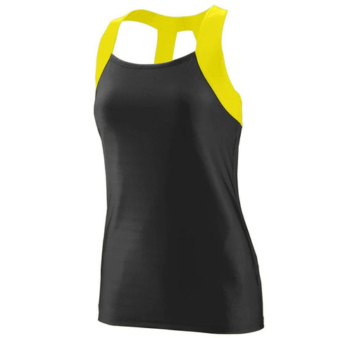 Augusta 1208 Ladies Jazzy Open Back Tank - Black Yellow - HIT A Double