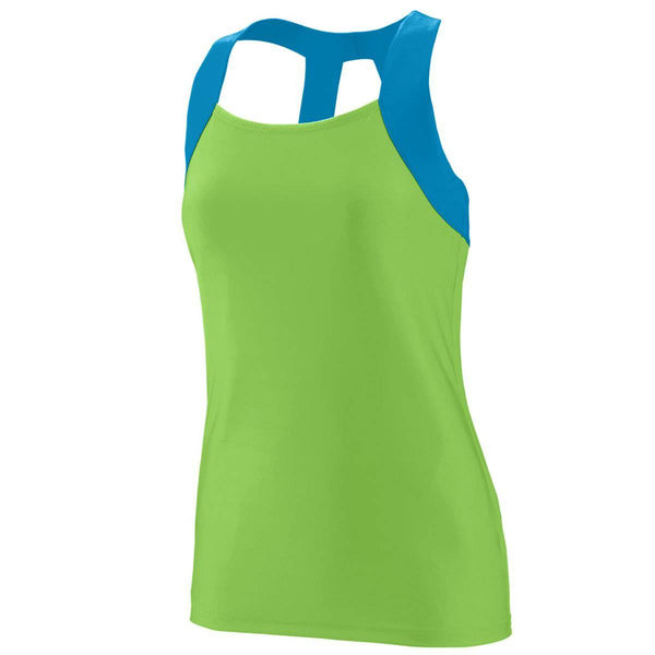 Augusta 1208 Ladies Jazzy Open Back Tank - Lime Blue - HIT A Double