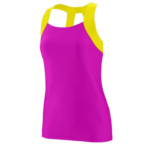 Augusta 1208 Ladies Jazzy Open Back Tank - Pink Yellow - HIT A Double