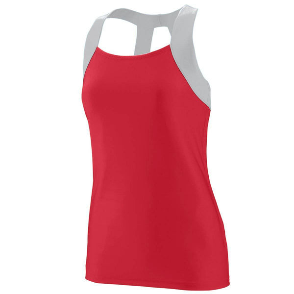 Augusta 1208 Ladies Jazzy Open Back Tank - Red Light Gray - HIT A Double