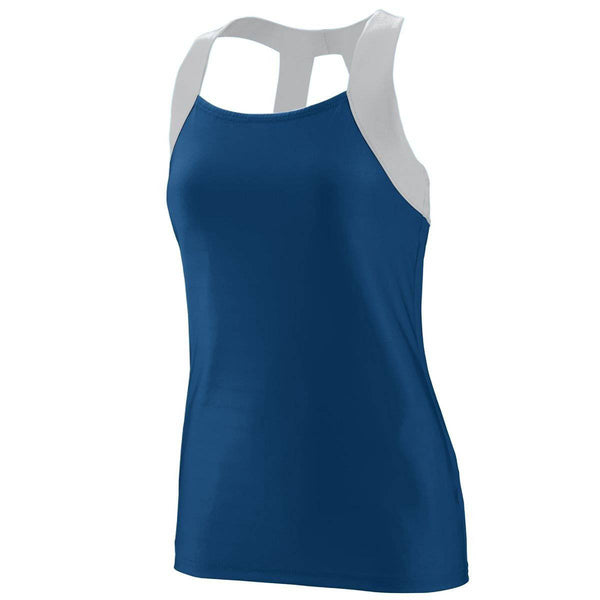 Augusta 1209 Girls Jazzy Open Back Tank - Navy Light Gray - HIT A Double