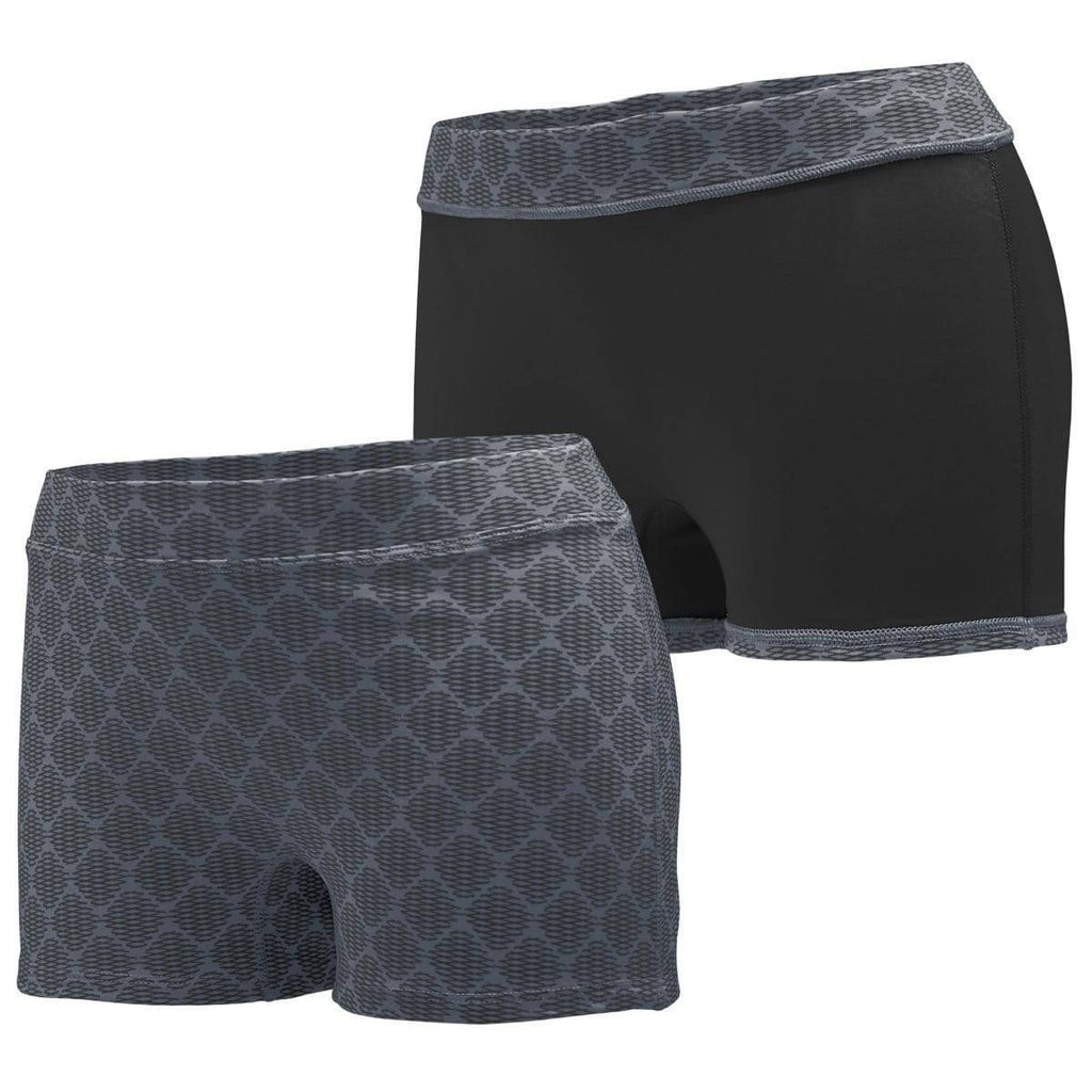 Augusta 1227 Ladies Impress Short - Dark Gray Print Black - HIT A Double