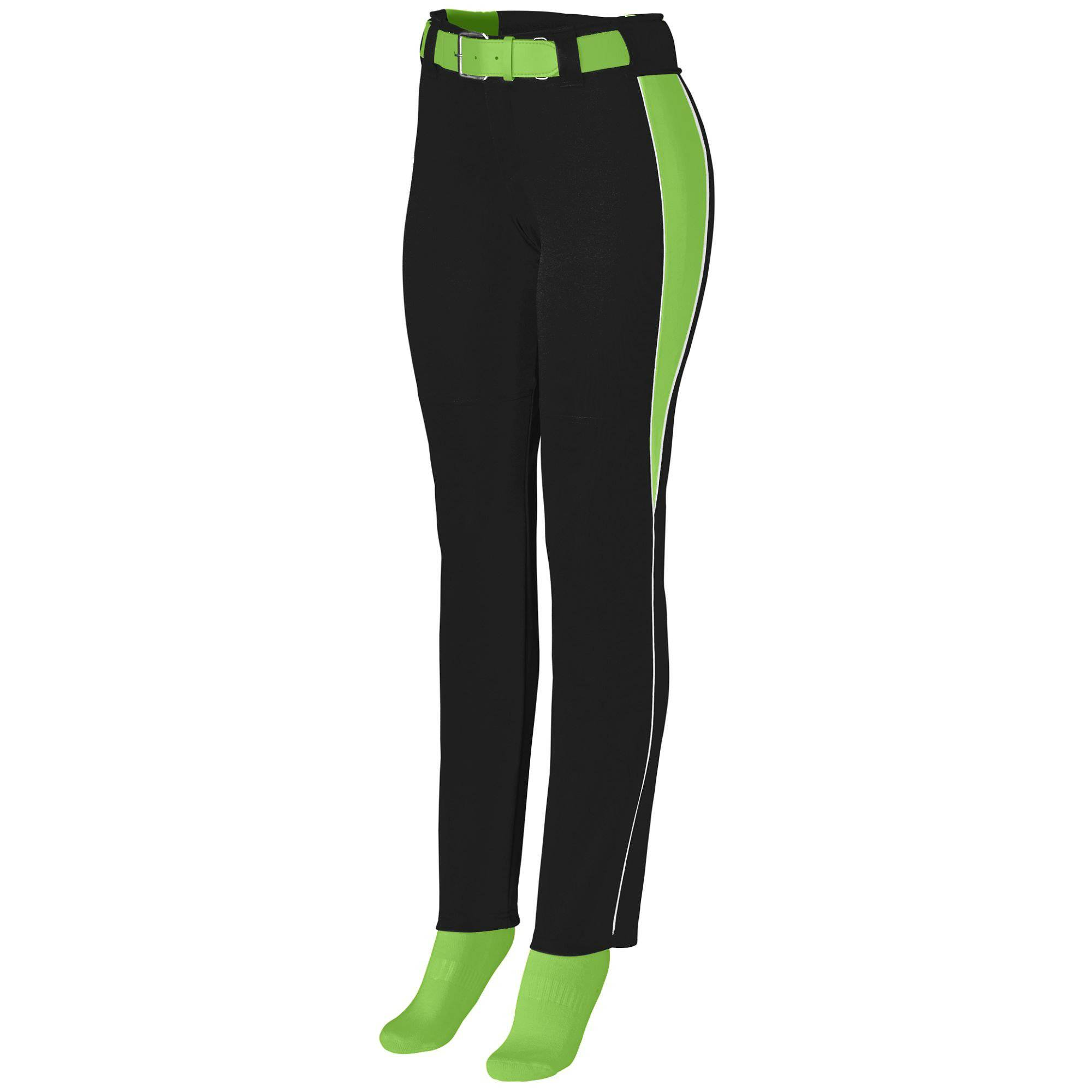 Augusta 1243 Girls Outfield Pant - Black Lime White