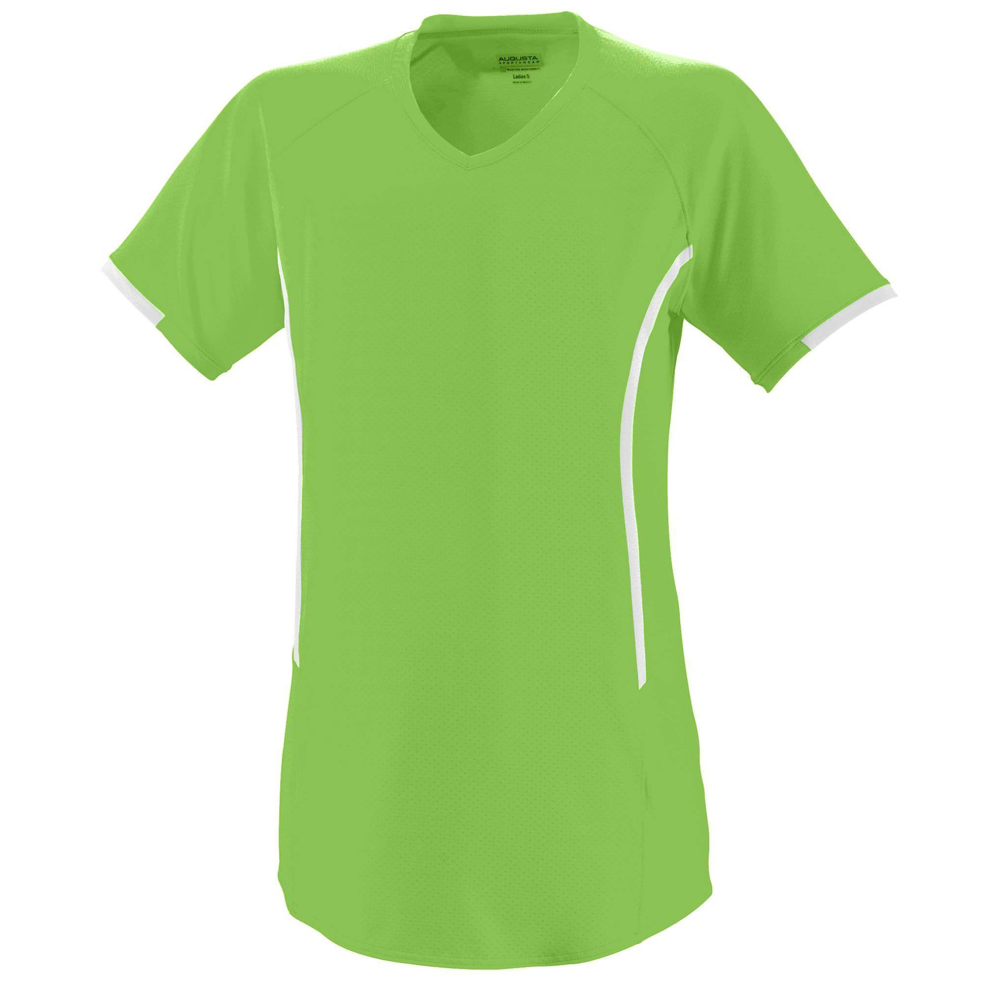 Augusta 1271 Girls Heat Jersey - Lime White