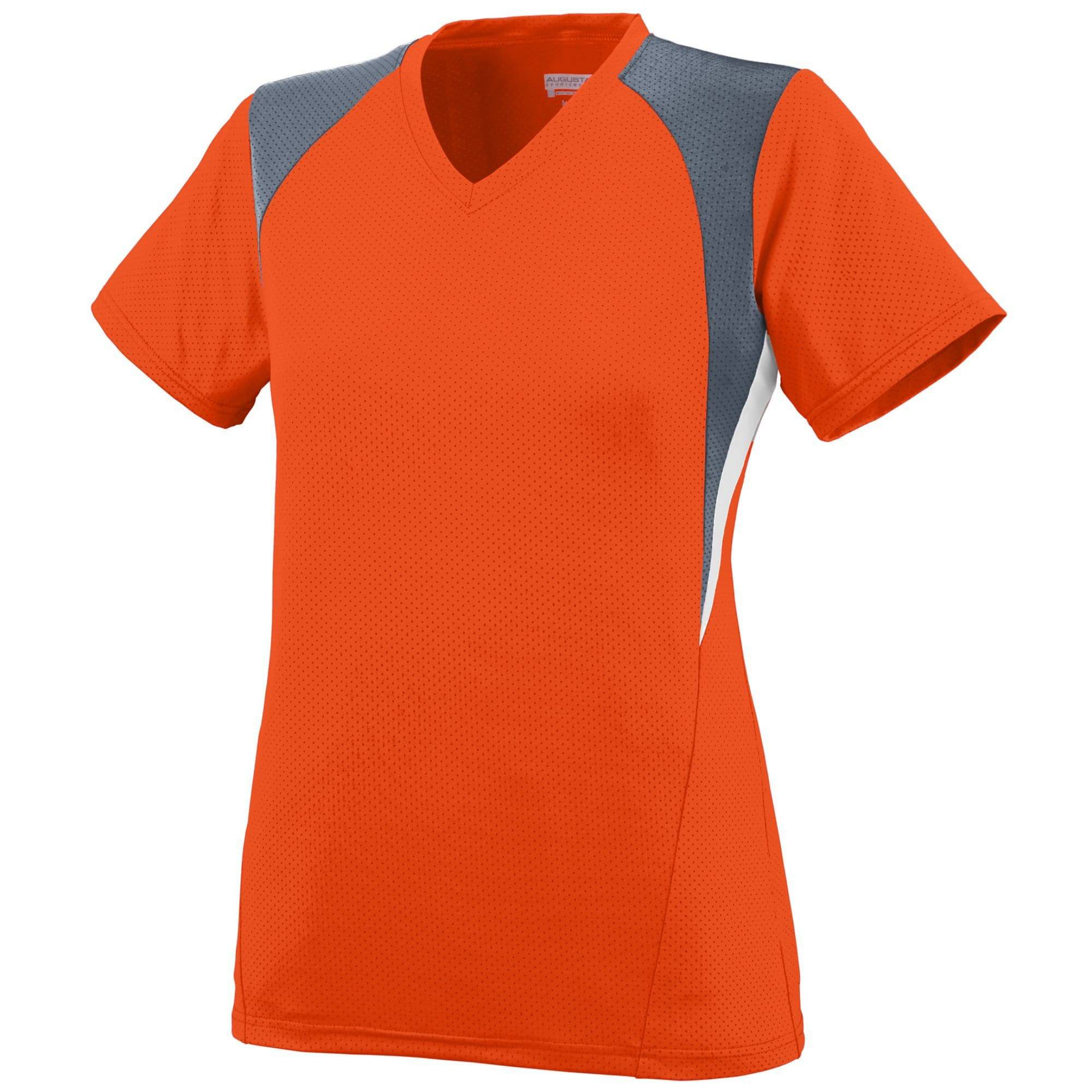 Augusta 1295 Ladies Mystic Jersey - Orange Graphite White