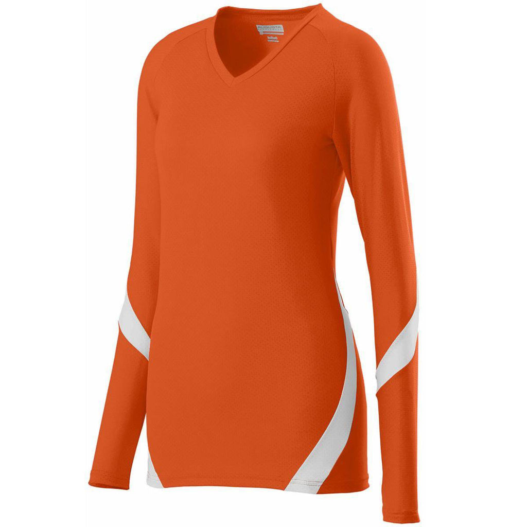Augusta 1325 Ladies Dig Jersey - Orange White - HIT A Double