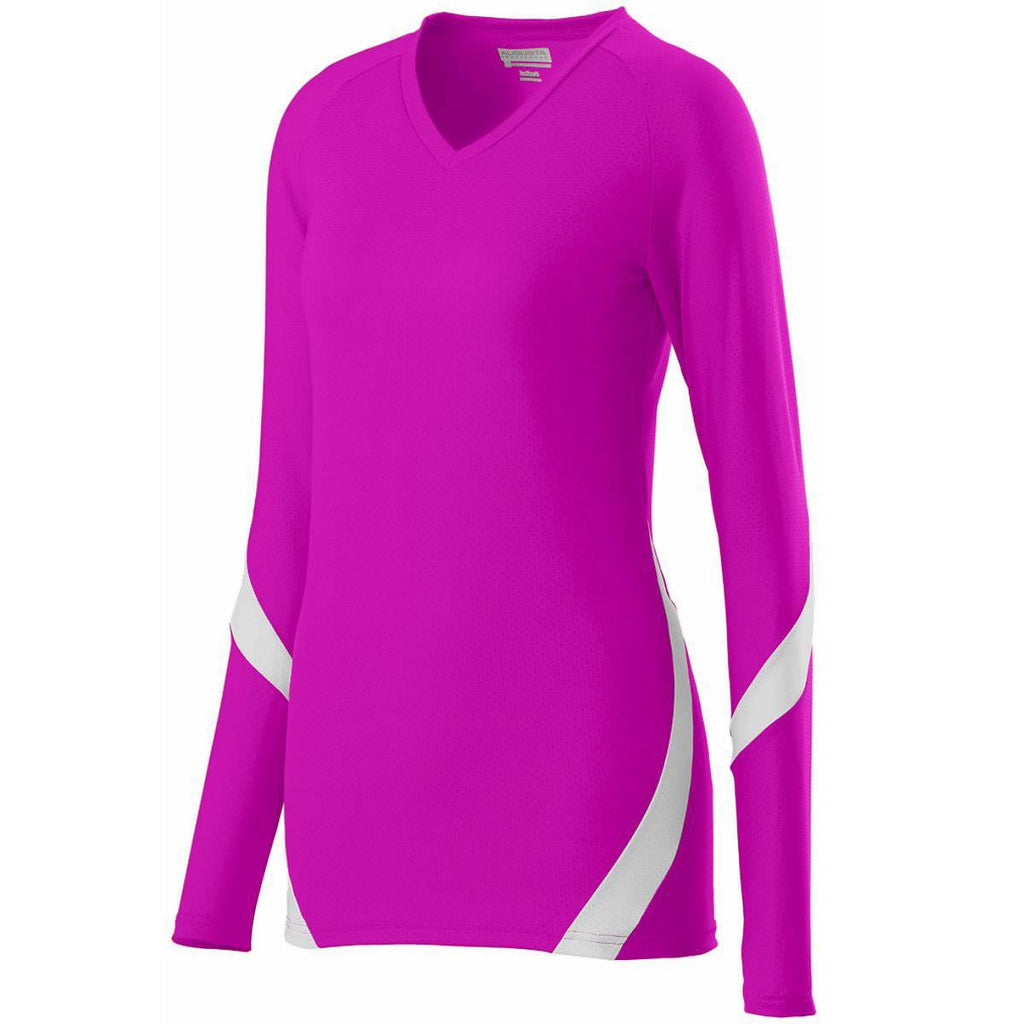 Augusta 1325 Ladies Dig Jersey - Pink White - HIT A Double