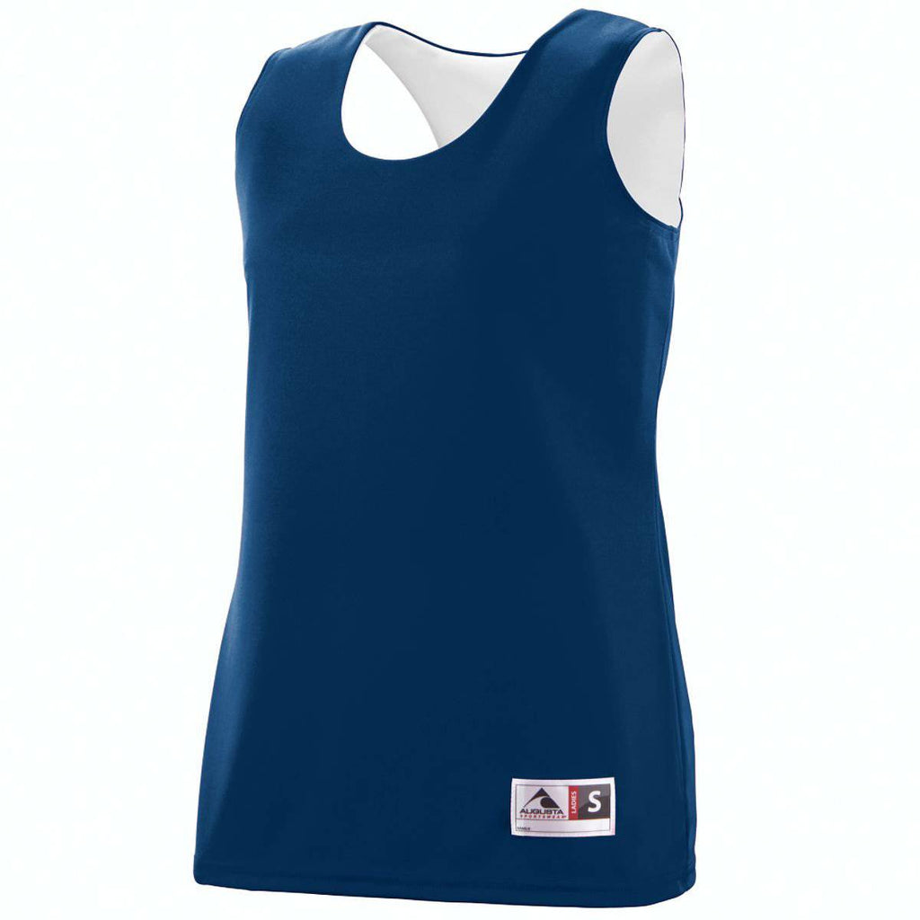 Augusta 147 Ladies Reversible Wicking Tank - Navy White - HIT A Double