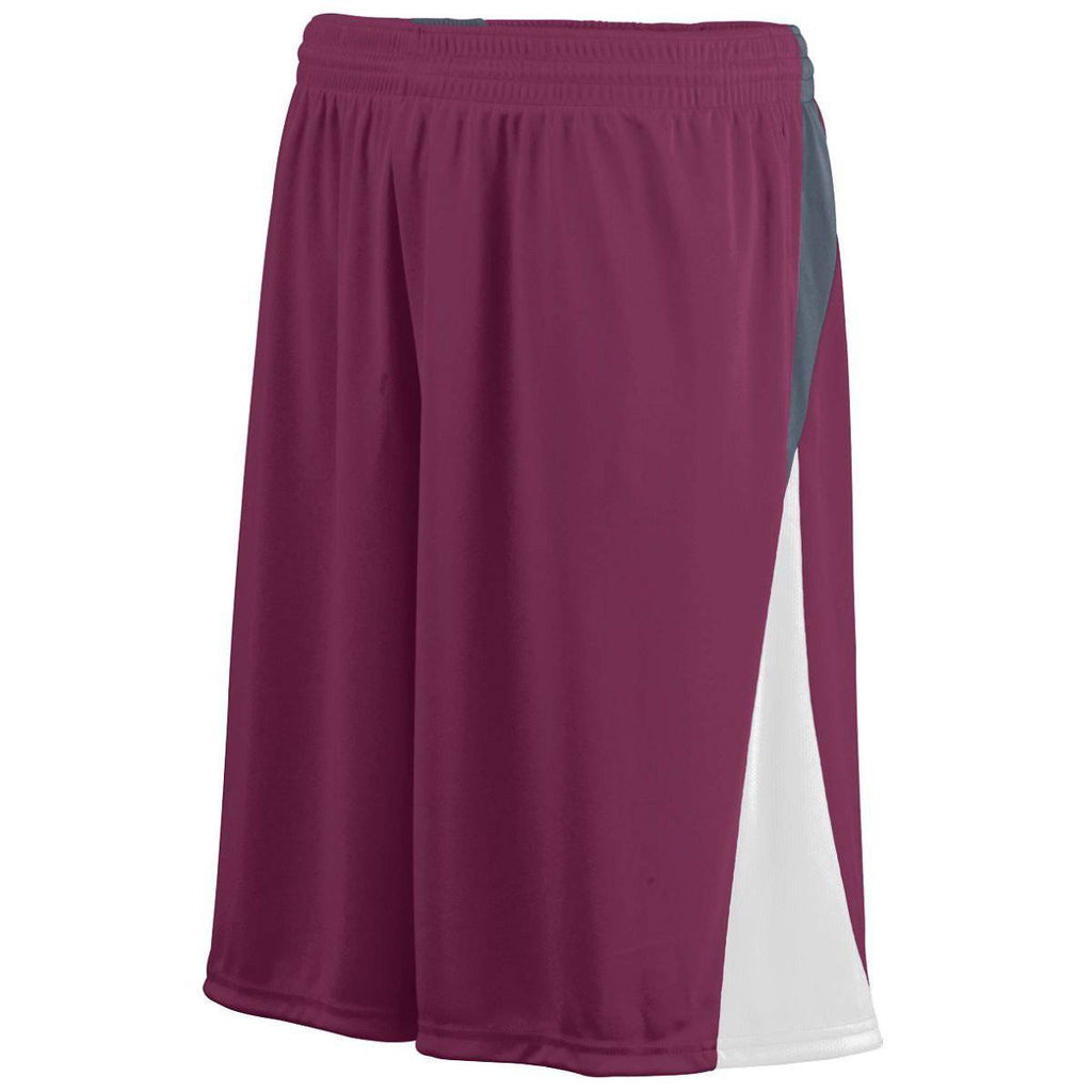 Augusta 1471 Cyclone Short - Youth - Maroon White Dark Gray - HIT A Double