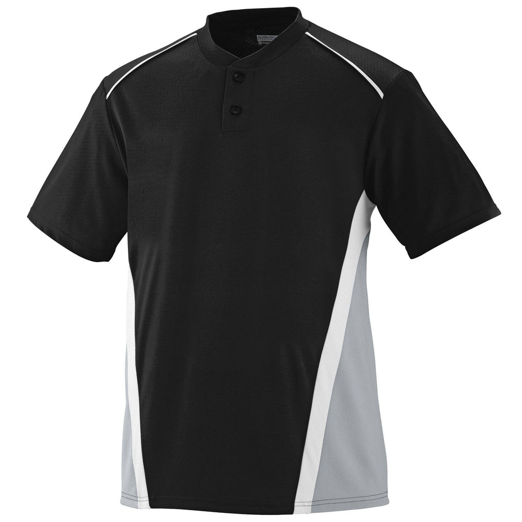 Augusta 1526 RBI Jersey - Youth - Black Silver Gray White - HIT A Double