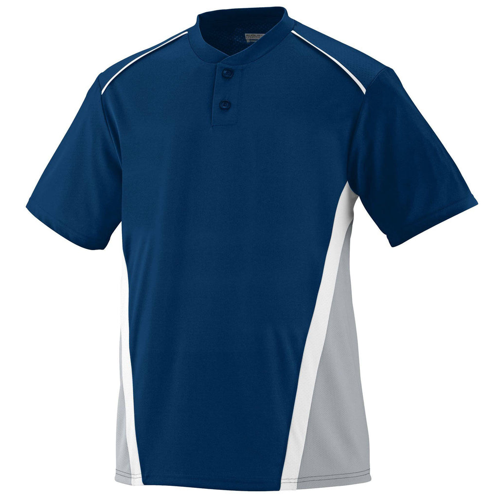Augusta 1526 RBI Jersey - Youth - Navy Silver Gray White - HIT A Double