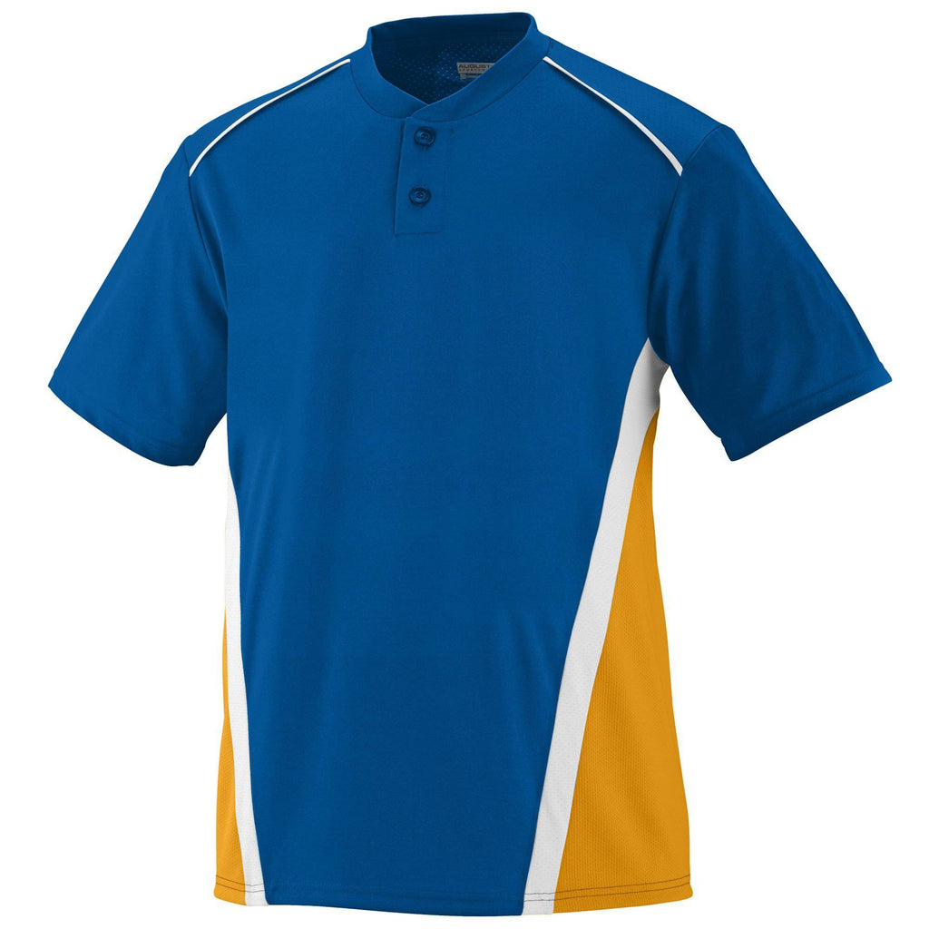 Augusta 1526 RBI Jersey - Youth - Royal Gold White - HIT A Double