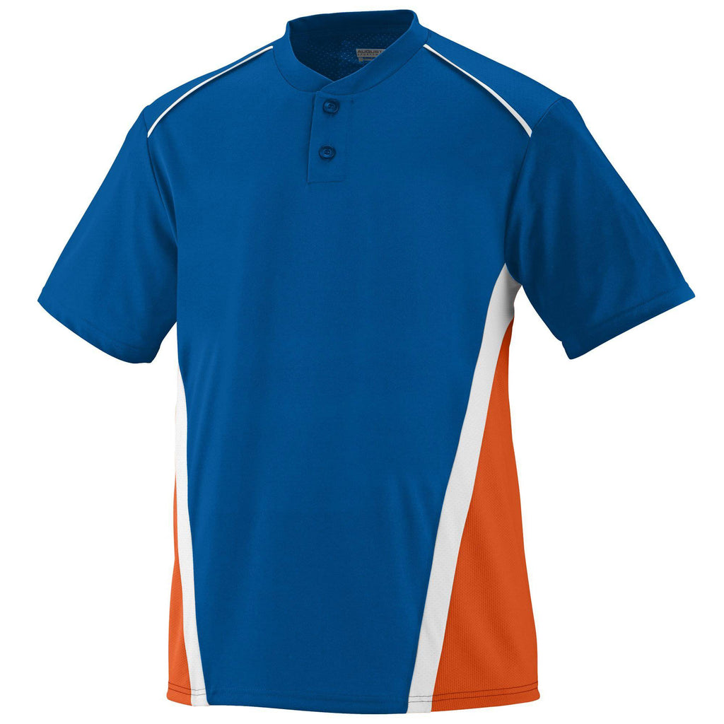 Augusta 1526 RBI Jersey - Youth - Royal Orange White - HIT A Double