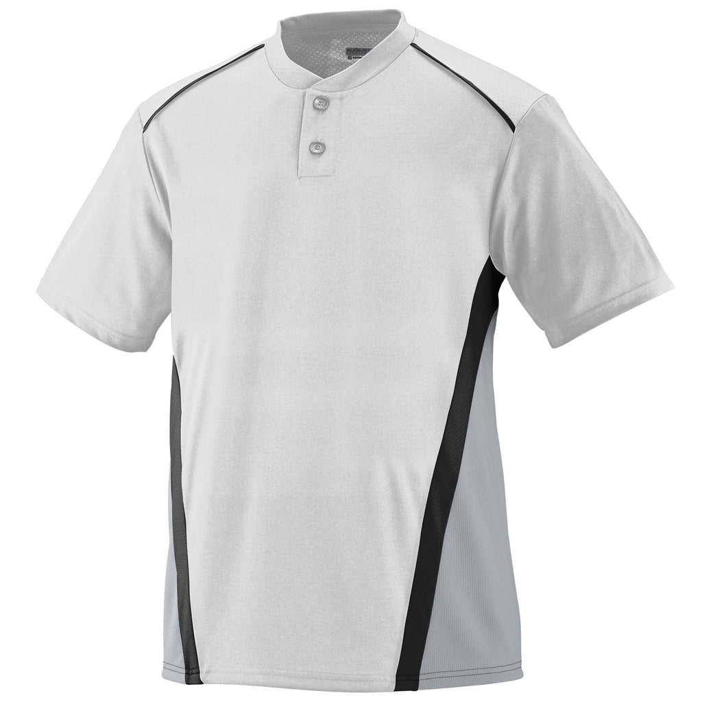 Augusta 1526 RBI Jersey - Youth - White Silver Gray Black - HIT A Double
