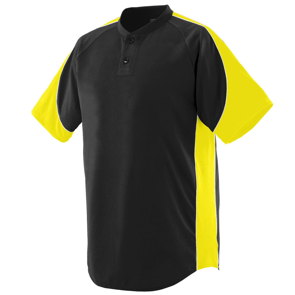 Augusta 1530 Blast Jersey - Black Power Yellow White - HIT A Double