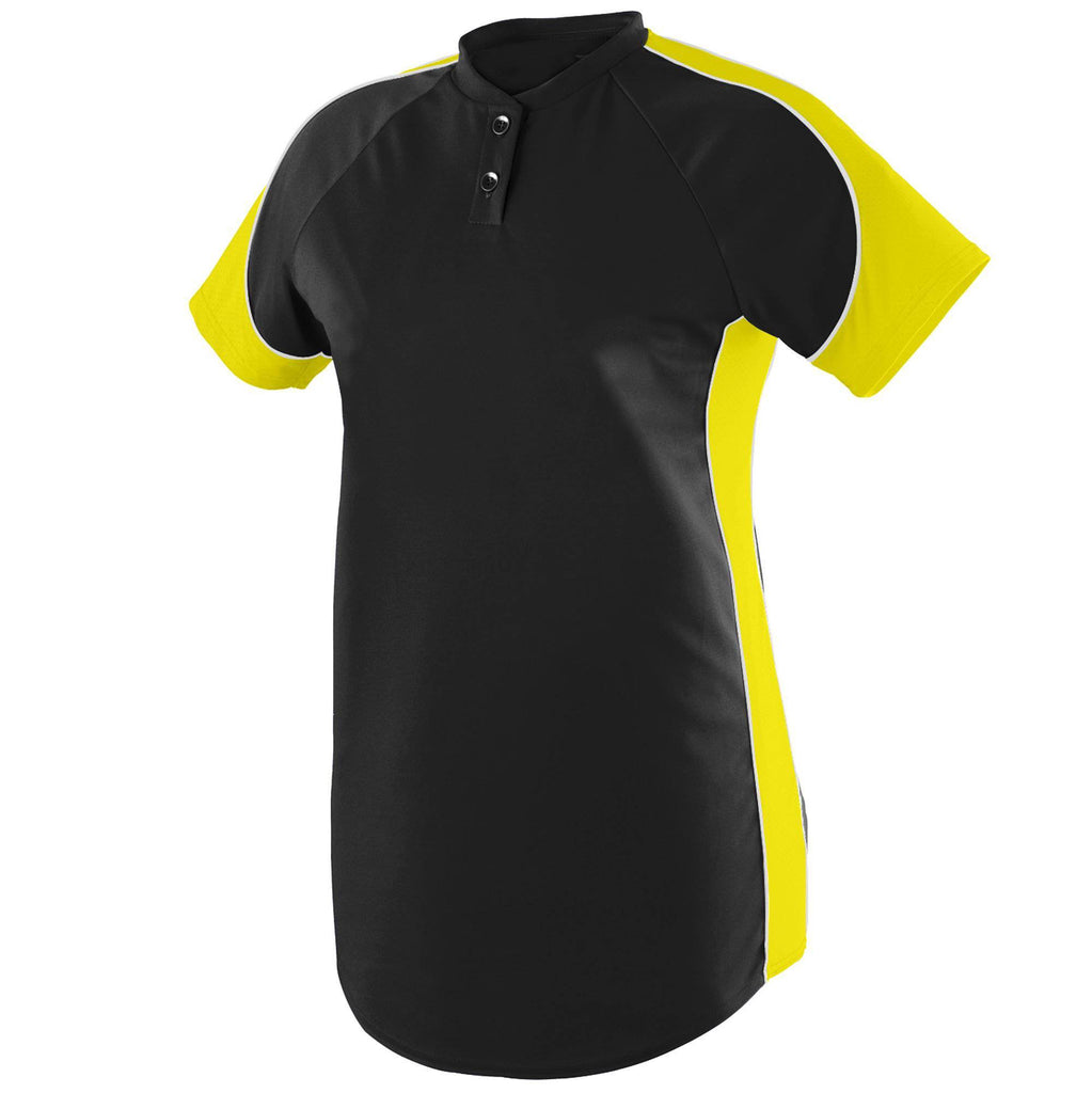 Augusta 1532 Ladies Blast Jersey - Black Power Yellow White - HIT A Double