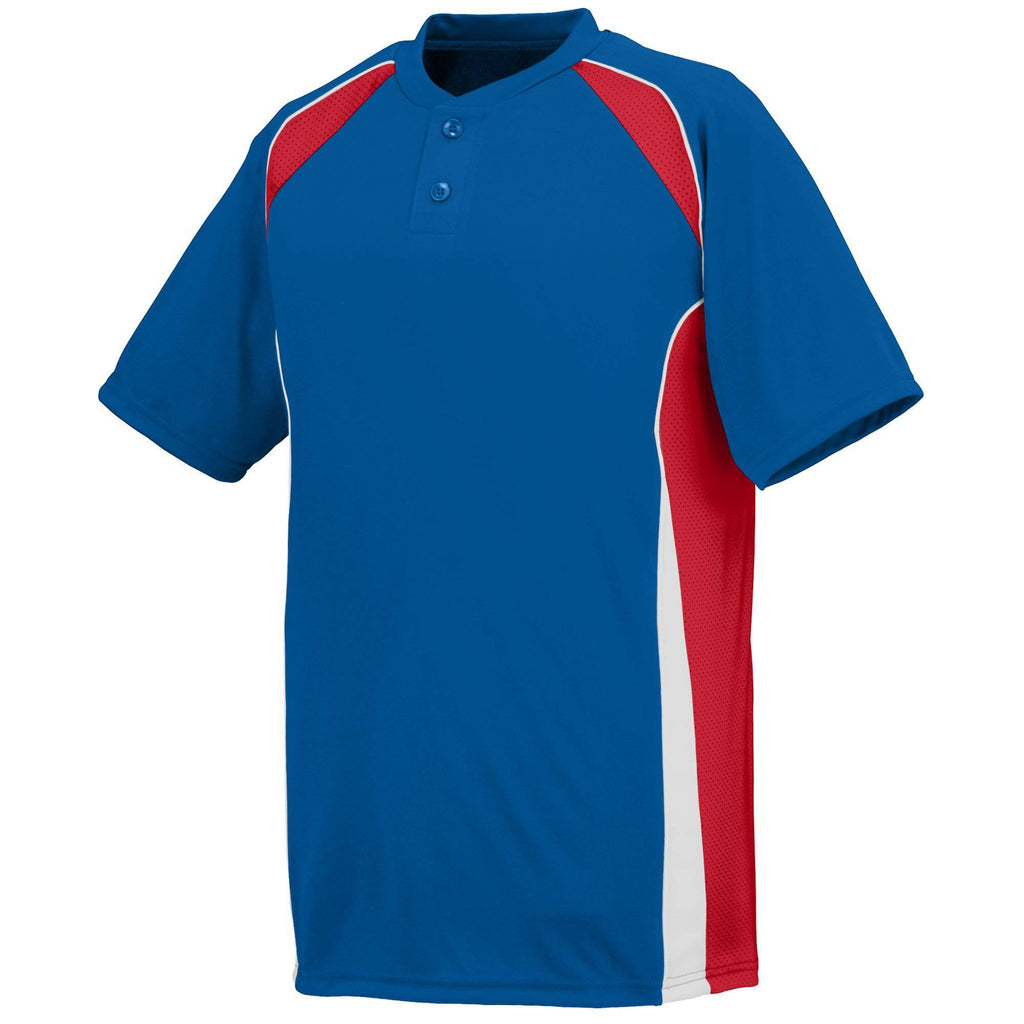 Augusta 1540 Base Hit Jersey - Royal Red White - HIT A Double