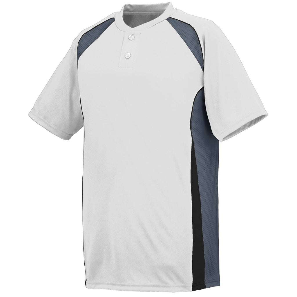 Augusta 1541 Base Hit Jersey - Youth - White Graphite Black - HIT A Double