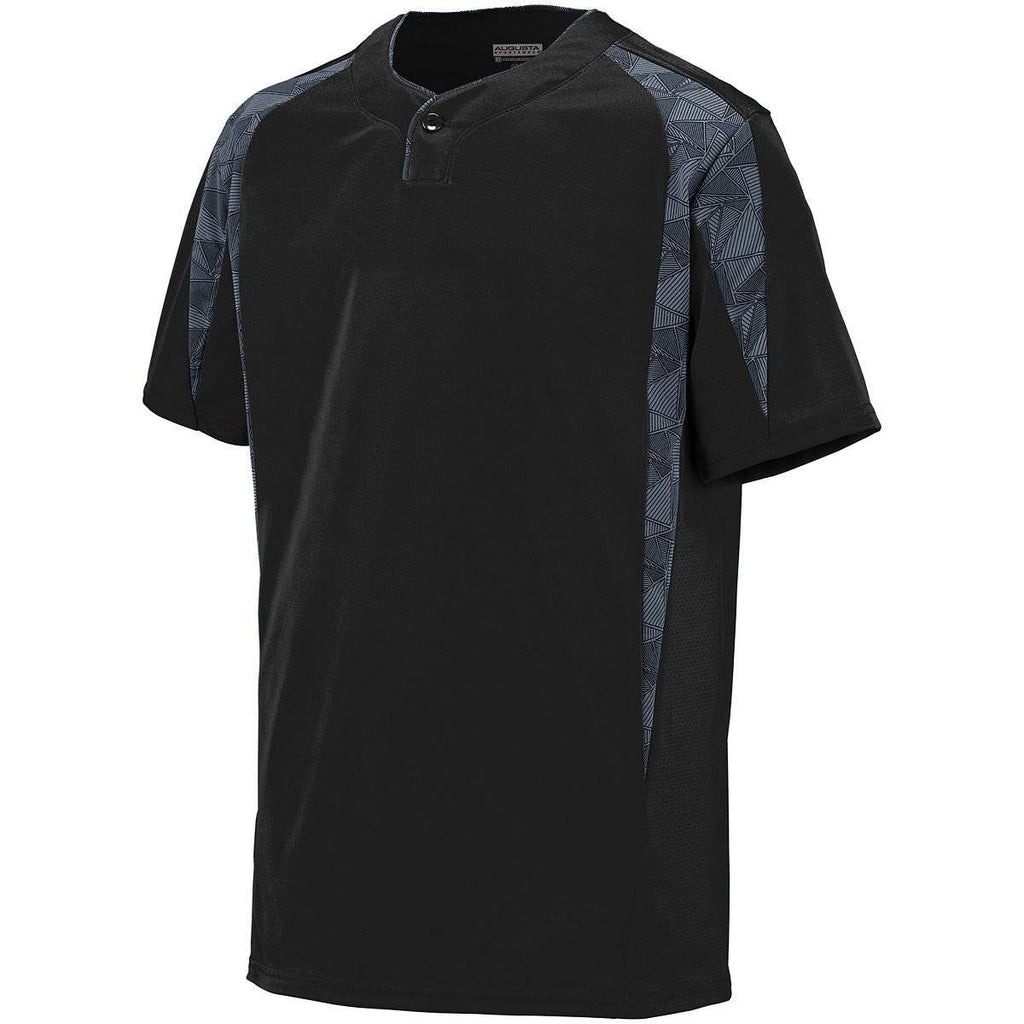 Augusta 1546 Flyball Jersey - Youth - Black Graphite Black Print - HIT A Double