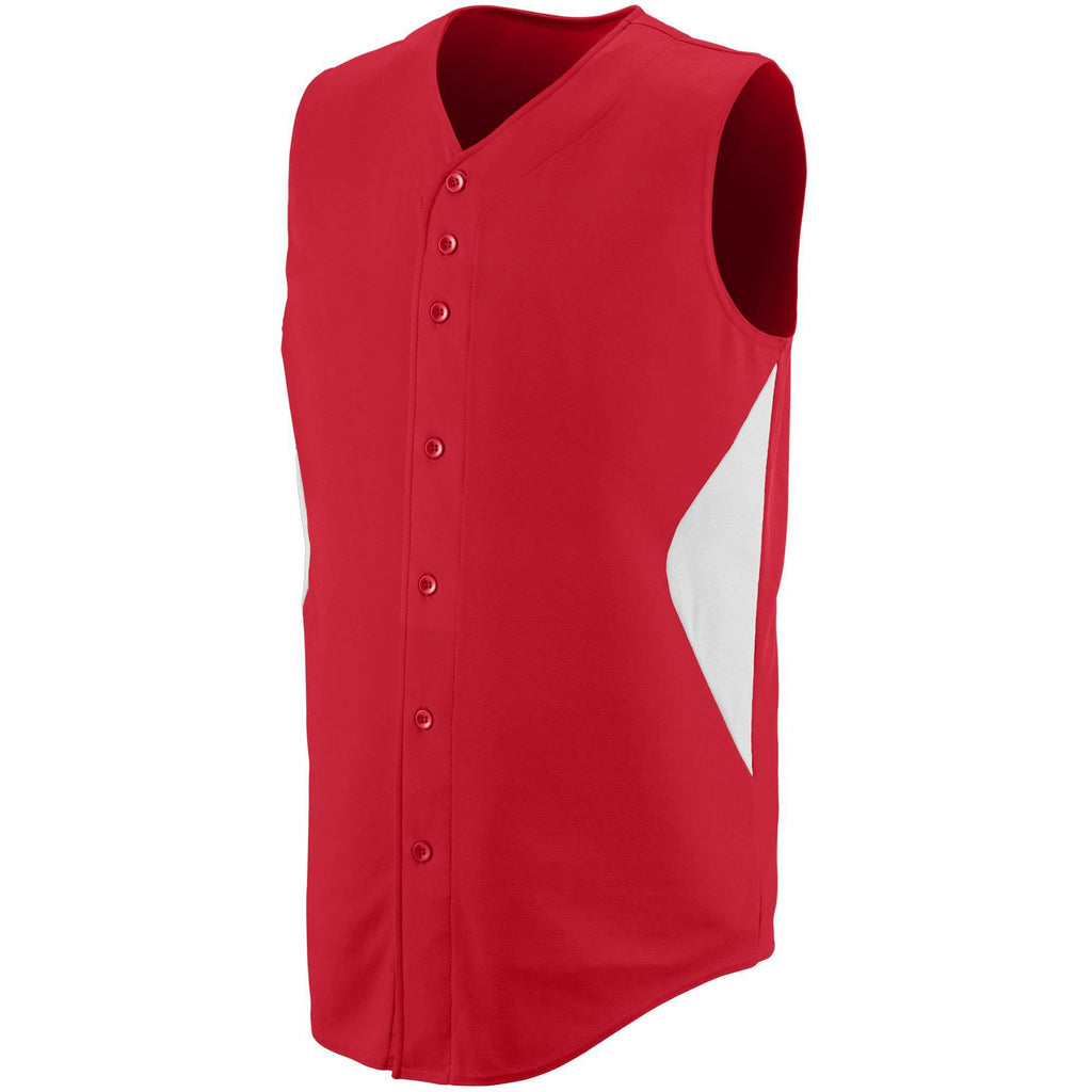 Augusta 1652 Sleeveless Wheel House Jersey - Red White