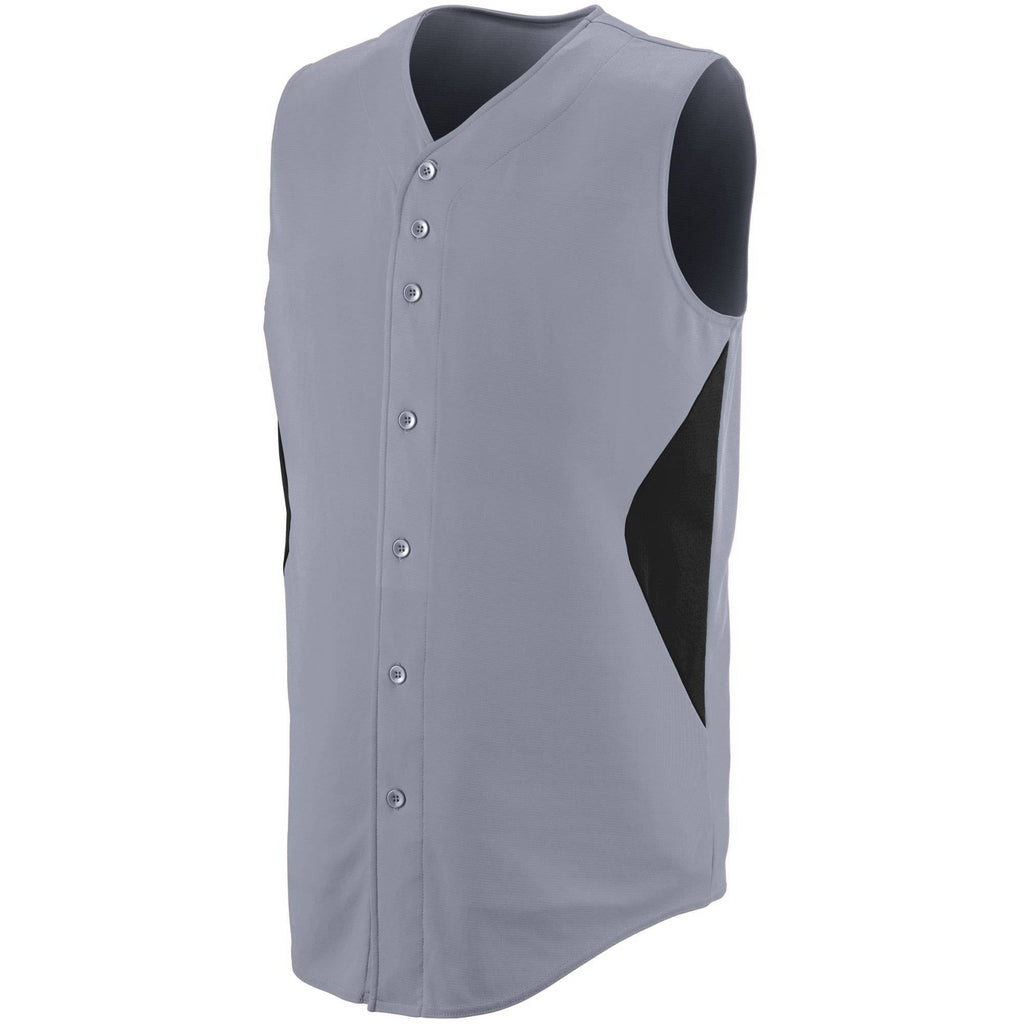 Augusta 1653 Sleeveless Wheel House Jersey - Youth - Blue Gray Black - HIT A Double