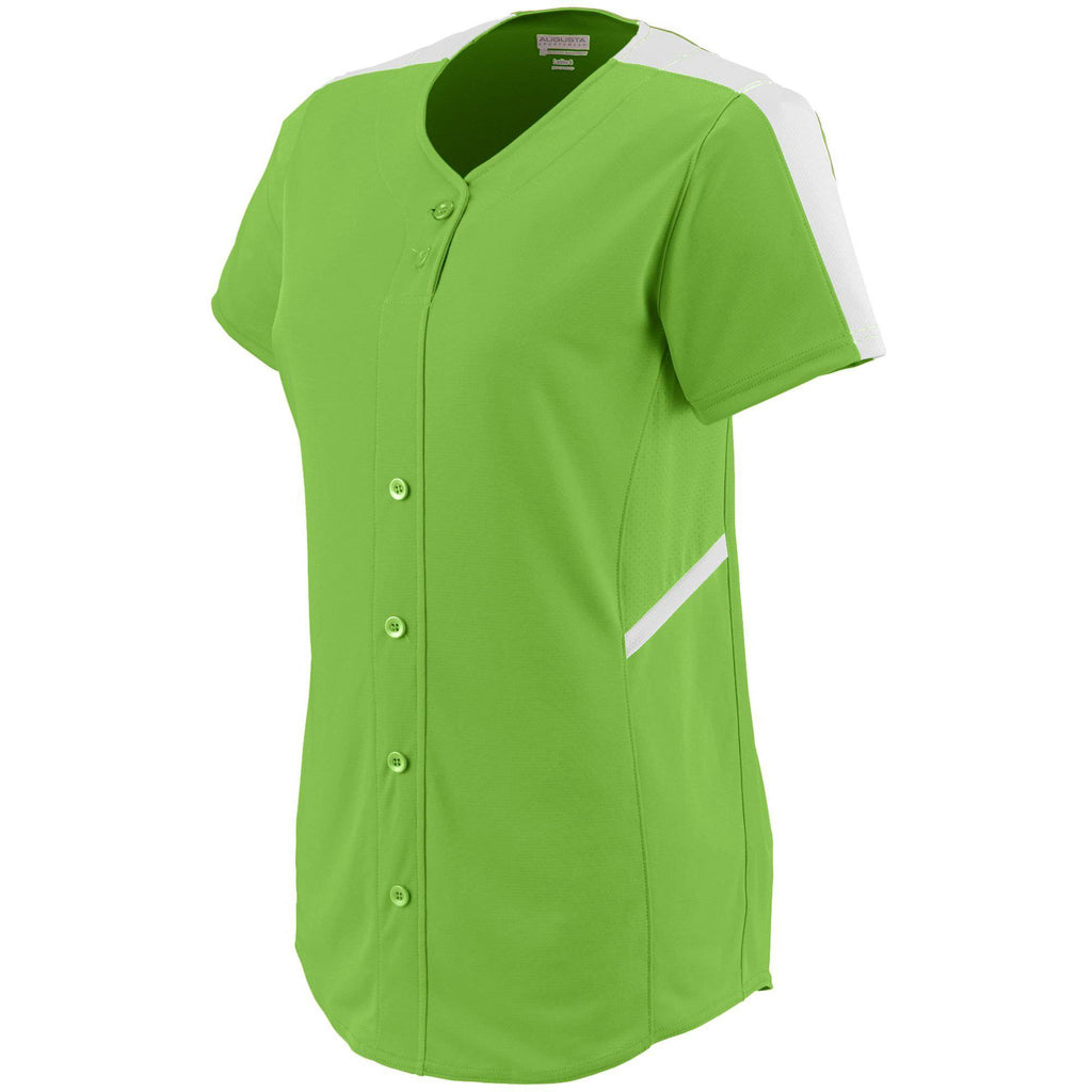 Augusta 1654 Ladies Closer Jersey - Lime White - HIT A Double