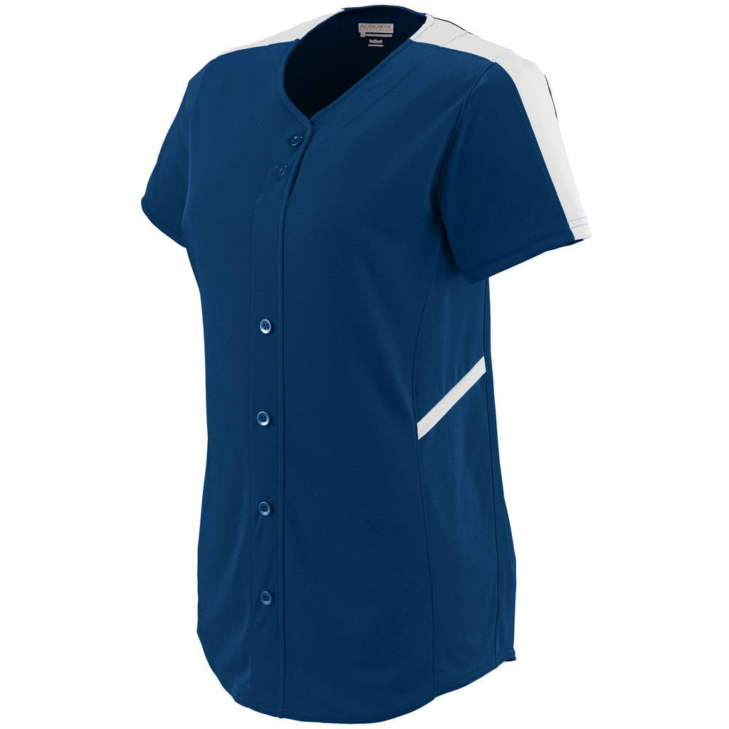 Augusta 1654 Ladies Closer Jersey - Navy White - HIT A Double