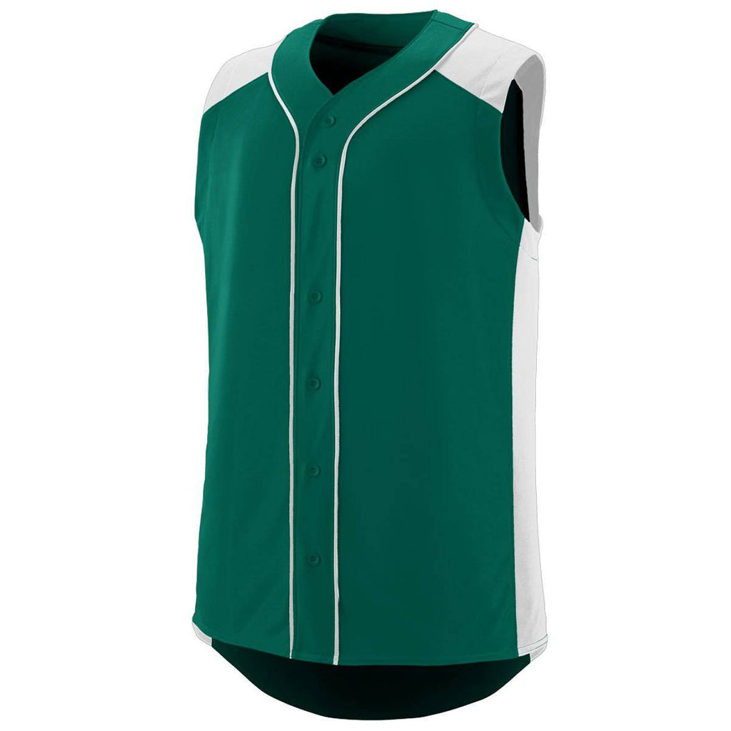 Augusta 1663 Sleeveless Slugger Jersey Youth - Forest White - HIT A Double