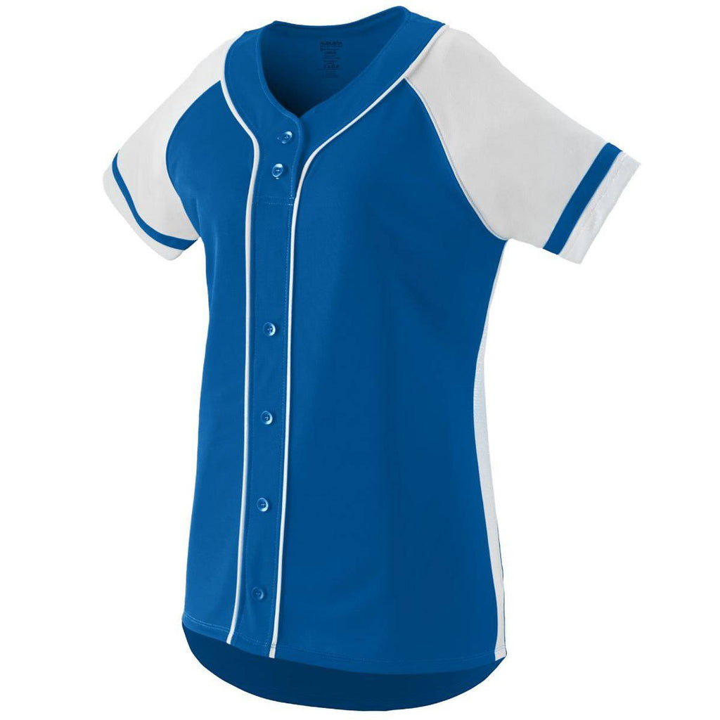 Augusta 1665 Ladies Winner Jersey - Royal White - HIT A Double