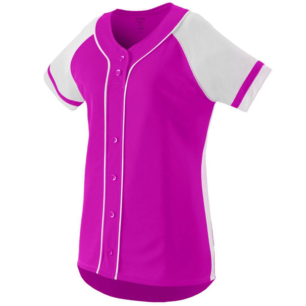 Augusta 1666 Girls Winner Jersey - Pink White - HIT A Double