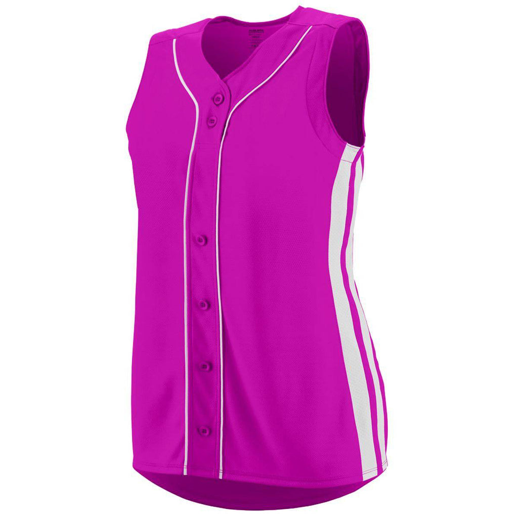 Augusta 1668 Ladies Sleeveless Winner Jersey - Pink White - HIT A Double