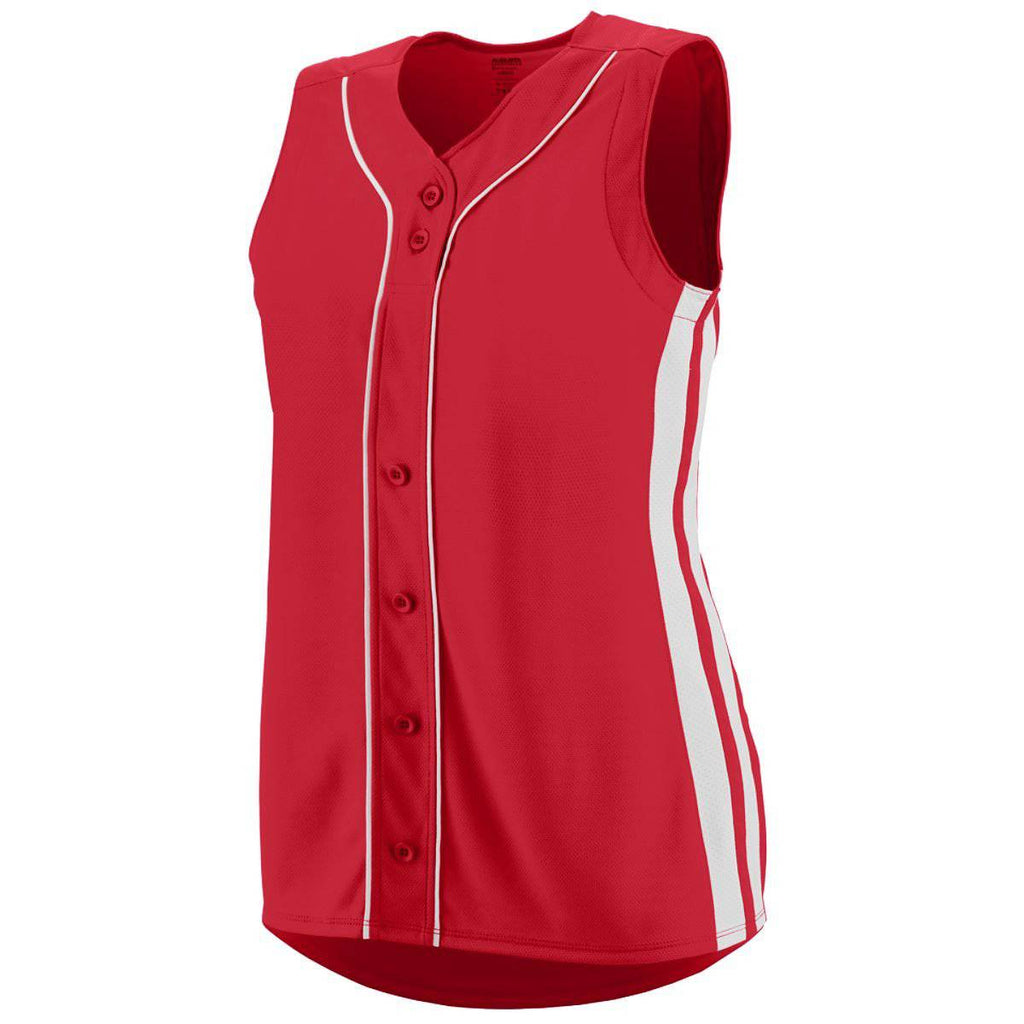 Augusta 1668 Ladies Sleeveless Winner Jersey - Red White - HIT A Double