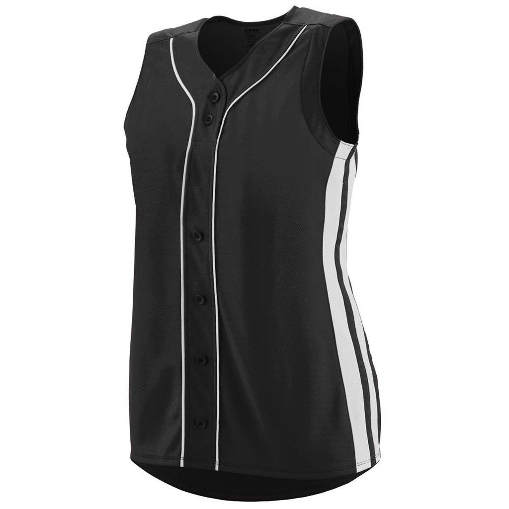 Augusta 1669 Girls Sleeveless Winner Jersey - Black White - HIT A Double