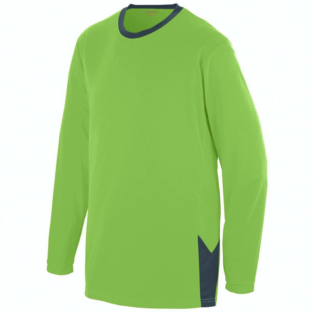 Augusta 1718 Youth Block Out Long Sleeve Jersey - Lime Dark Gray - HIT A Double