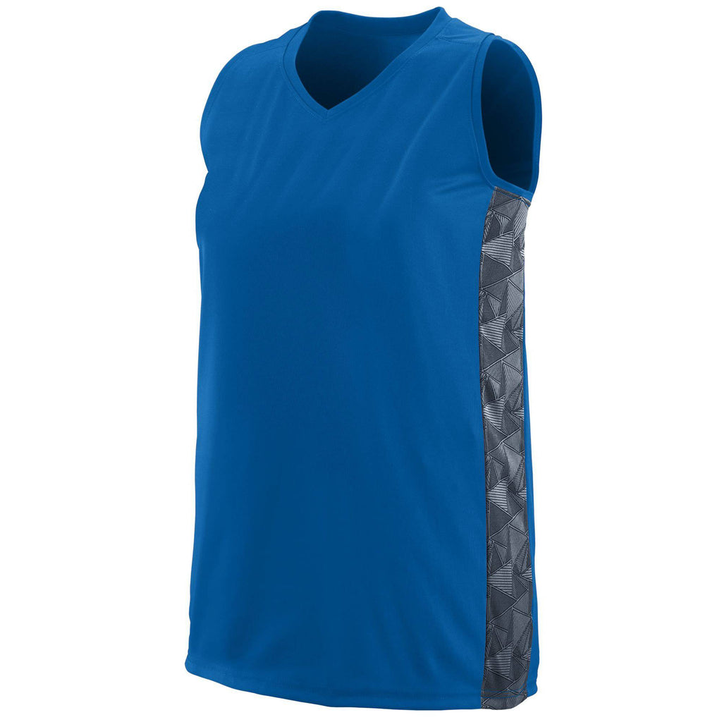 Augusta 1722 Ladies Fast Break Racerback Jersey - Royal Graphite Print - HIT A Double