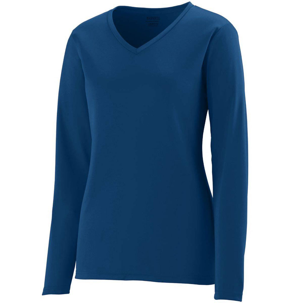 Augusta 1788 Ladies Long Sleeve Wicking T-Shirt - Navy