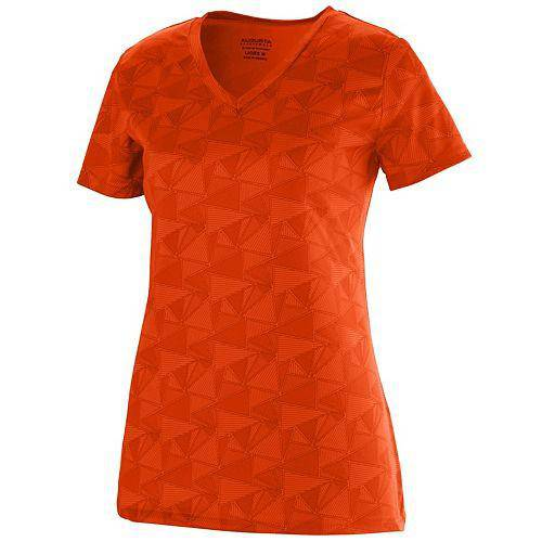 Augusta 1792 Ladies Elevate Wicking T-Shirt - Orange Print - HIT A Double