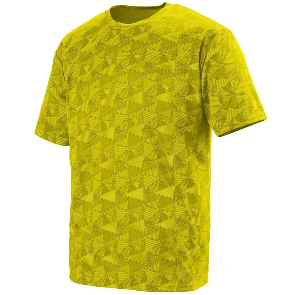 Augusta 1795 Elevate Wicking T-Shirt - Power Yellow Black Print - HIT A Double