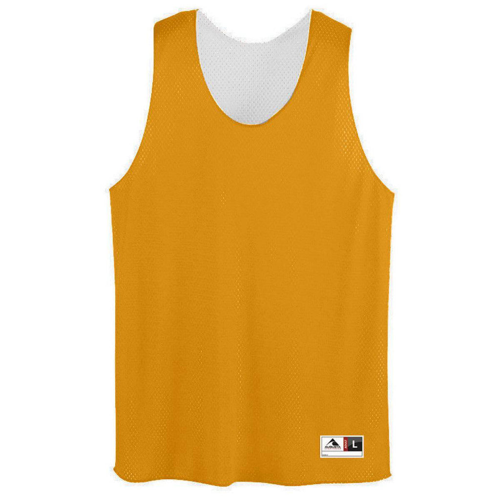 Augusta 198 Youth Tricot Mesh Reversible Tank - Gold White - HIT A Double