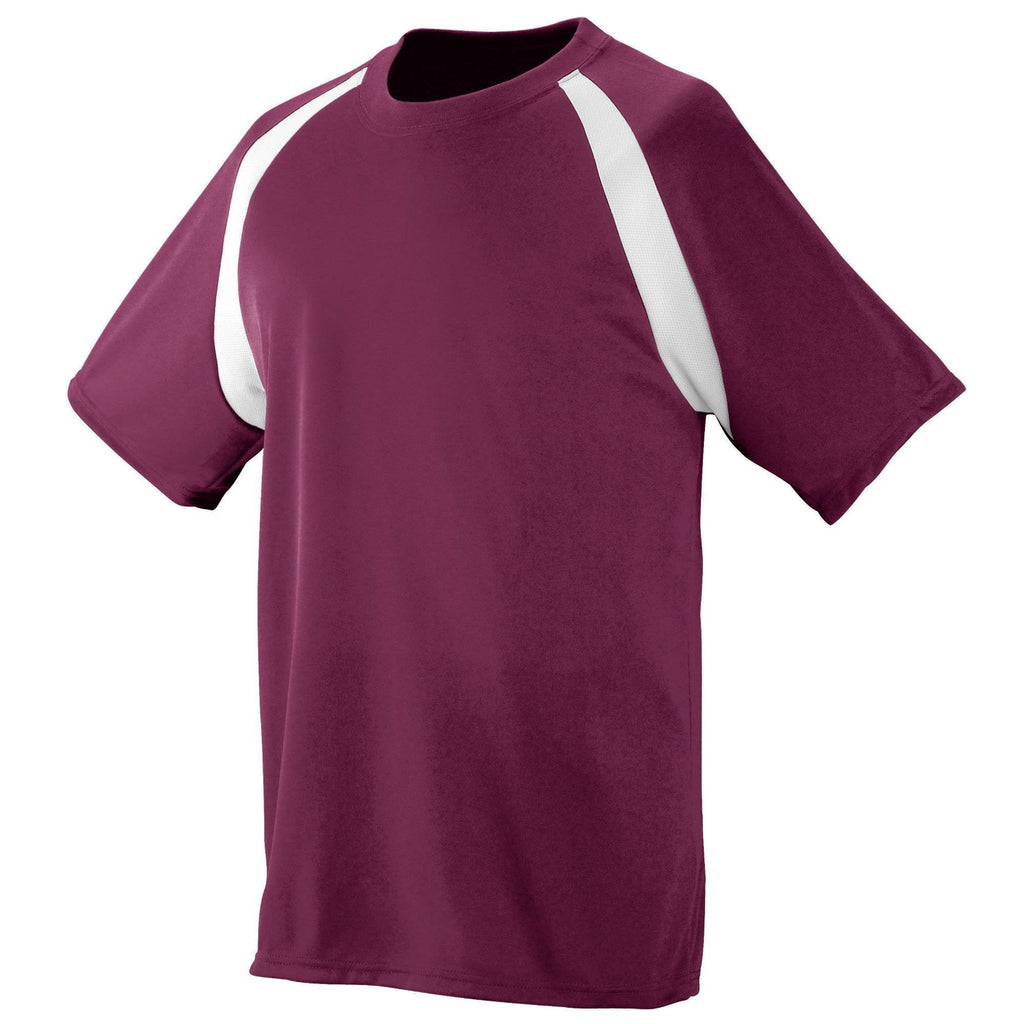 Augusta 219 Wicking Color Block Jersey - Youth - Maroon White - HIT A Double